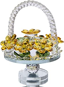 H&D HYALINE & DORA Crystal Fengshui Home Collection Paperweight,Yellow Crystal Flowers Basket Shape with Rotating Base Lady Gift
