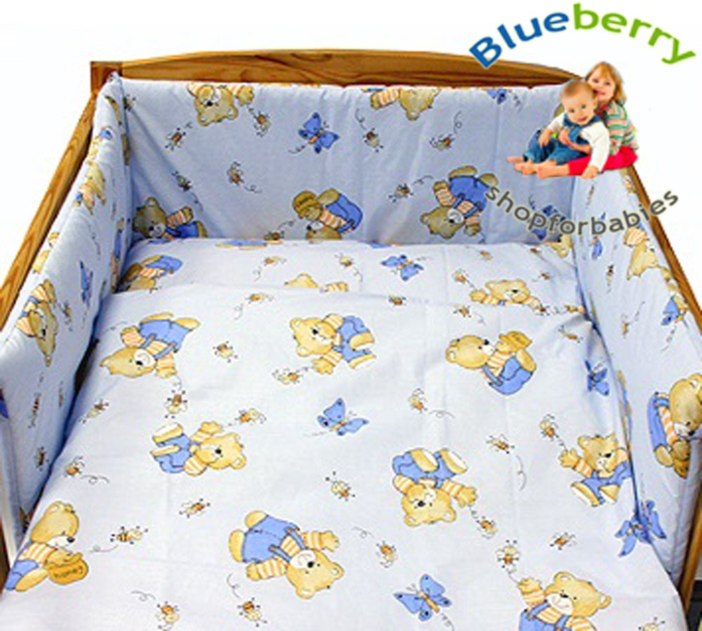 BlueberryShop 2 pcs BABY COT BED BUNDLE BEDDING SET DUVET+PILLOW COVERS matching cot bed 120 x 150 cm (47'' x 59'') ( 0-7Yrs ) ( 150 x 120 cm ) Blue Bear