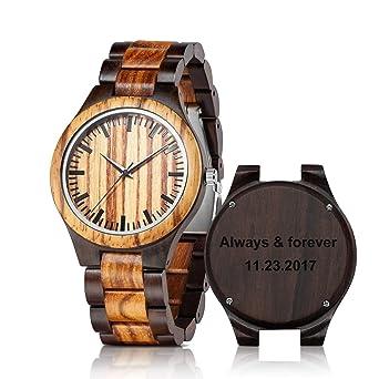 Amazon.com: Reloj de madera grabada para hombre, reloj de ...