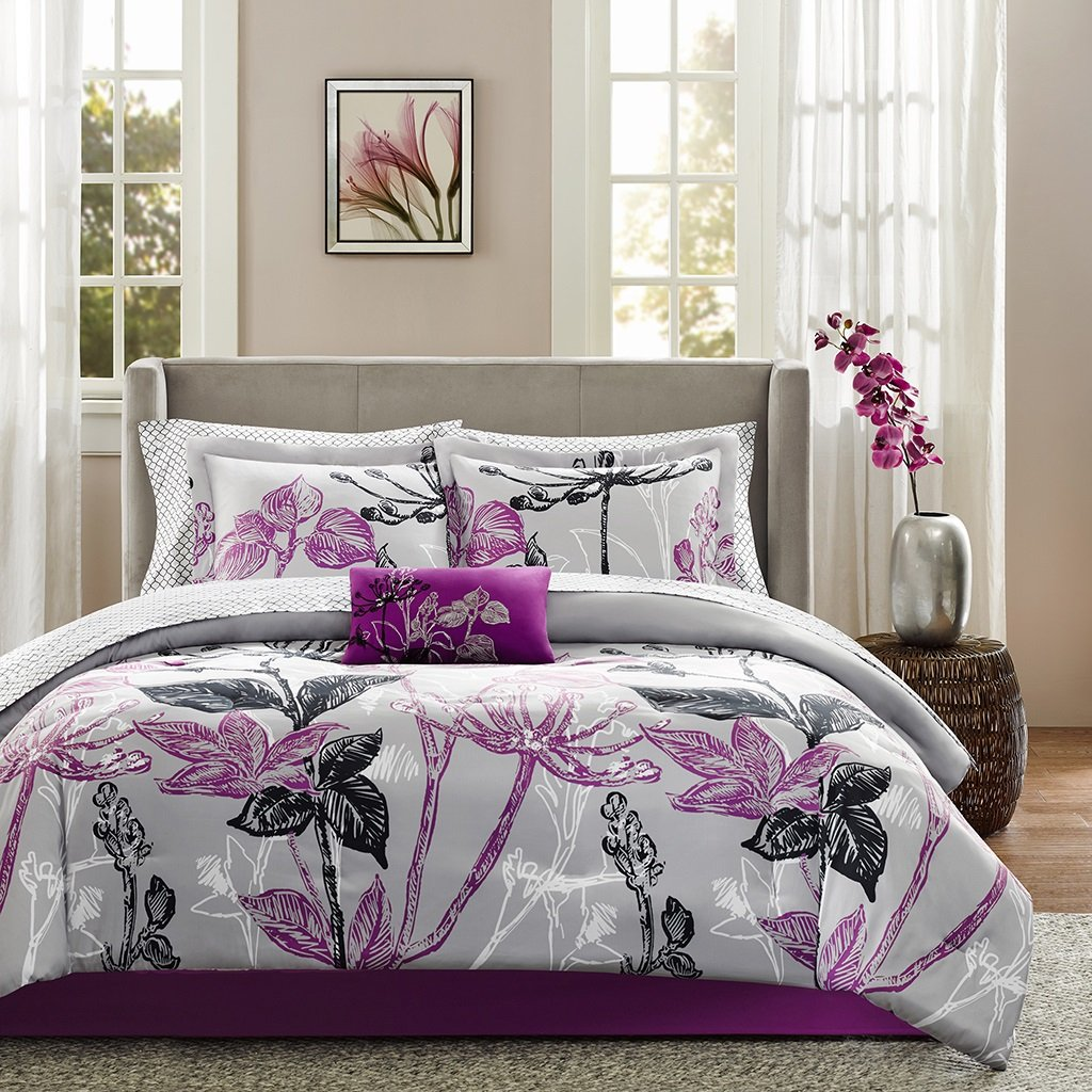 9 Piece Floral Print Designed Comforter Set Queen Size, Vibrant Elegant Hotel Guest Room Leafs Flowers Printed Bedding, Girls Teenager Tropical Botanical Design Cozy Bedroom, Purple, Black, Grey