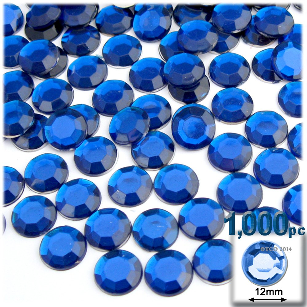 The Crafts Outlet 1000-Piece Flatback Round Rhinestones, 12mm, Royal Blue by The Crafts Outlet