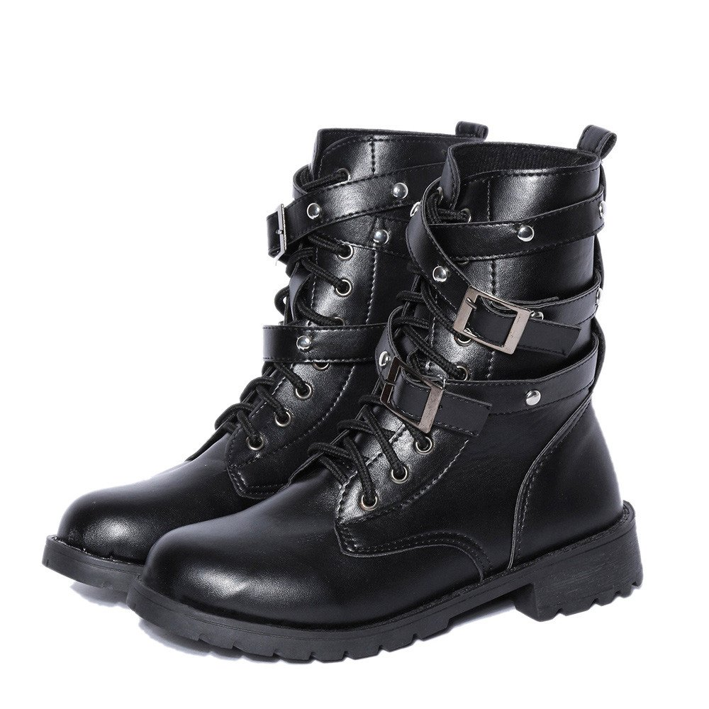 ❤ Botas de Motociclista Mujer, Zapatos Planos de Mujer con Suave al Tobillo Botas con Cordones de Gamuza Femenina Absolute: Amazon.es: Ropa y accesorios
