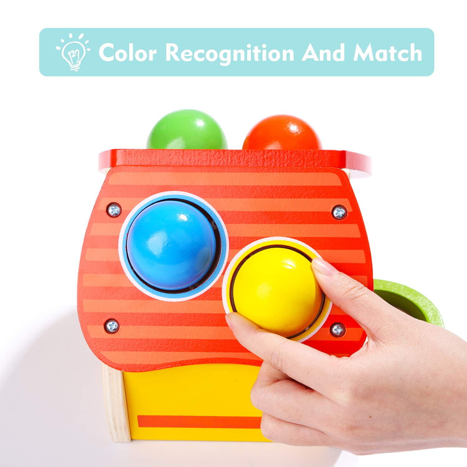 TOP BRIGHT Hammer Toy for 1 2 Year Old Boy and Girl Gifts Learning Wooden Montessori Toys for Toddlers Pounding and Color Matching Game with Ball Mallet by TOP BRIGHT (Image #3)
