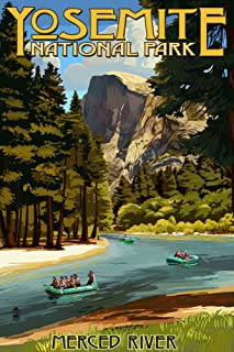 product image for Yosemite National Park, California - Merced River Rafting (24x36 Giclee Gallery Print, Wall Decor Travel Poster)