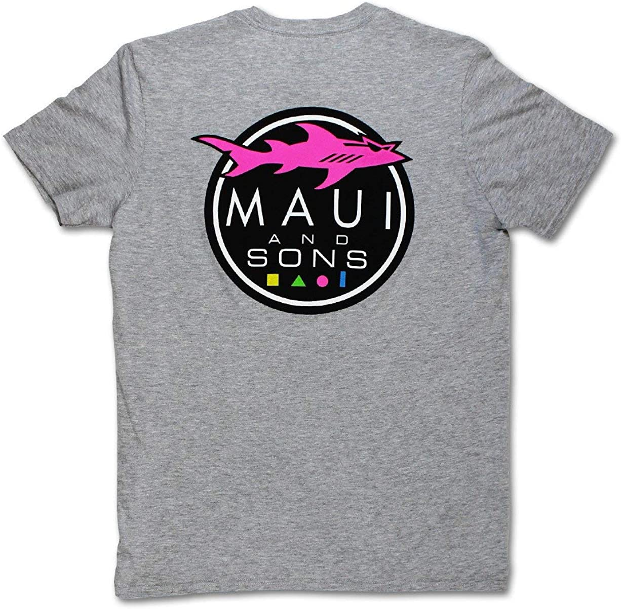 Maui & Sons Men's Casual Short Sleeve Shark Logo T-Shirts