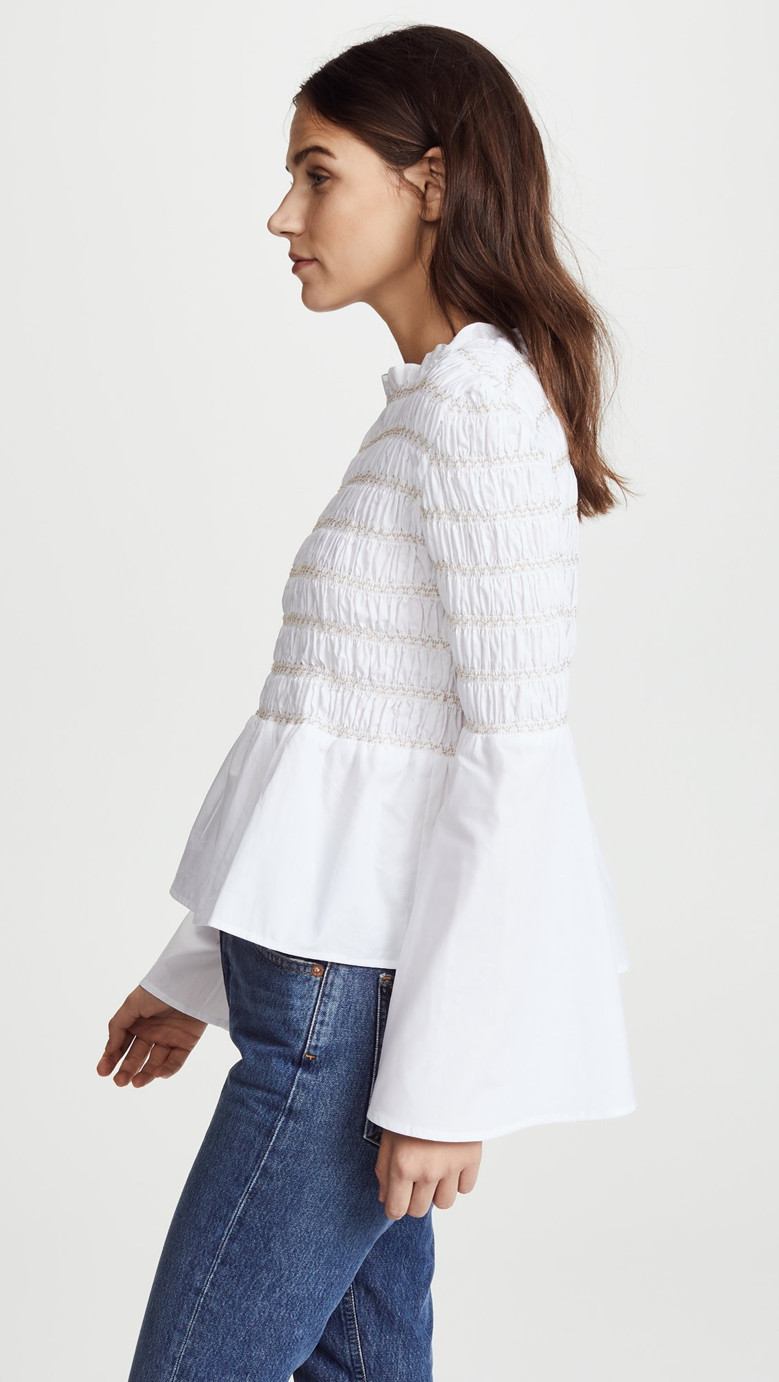 endless rose Women's Smocked Poplin Top, Off White, Small by endless rose (Image #4)