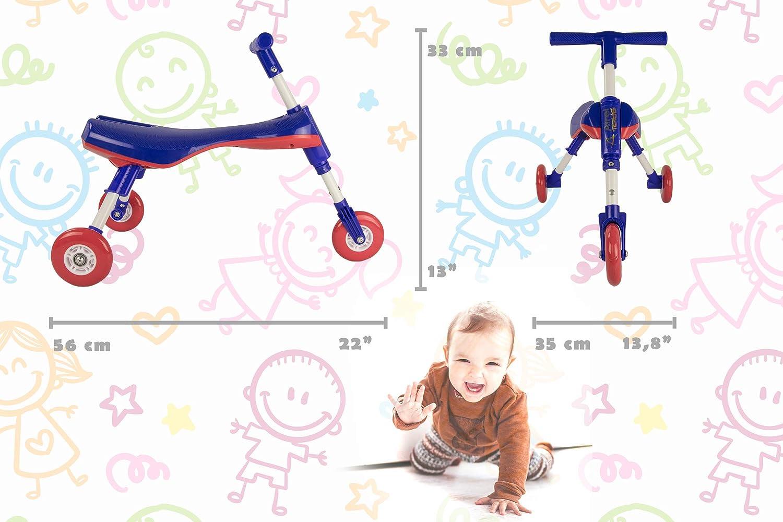 Airel Lernlaufrad Kinderlaufrad Klappbar Mini Laufrad Flatbar Lernlaufrad Dreirad Dreirad von 1 bis 3 Jahren Minilaufdreirad