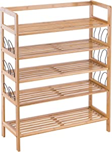 YOUDENOVA Bamboo Shoe Rack, 5 Tier Shoe Rack Organizer for Entryway Closet and Cabinet, Large Shoe Shelf for 19-24 Pairs, Shoes Storage for Boots (Natural)
