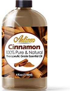 Artizen Cinnamon Essential Oil (100% Pure & Natural - UNDILUTED) Therapeutic Grade - Huge 4oz Bottle - Perfect for Aromatherapy, Relaxation, Skin Therapy & More!