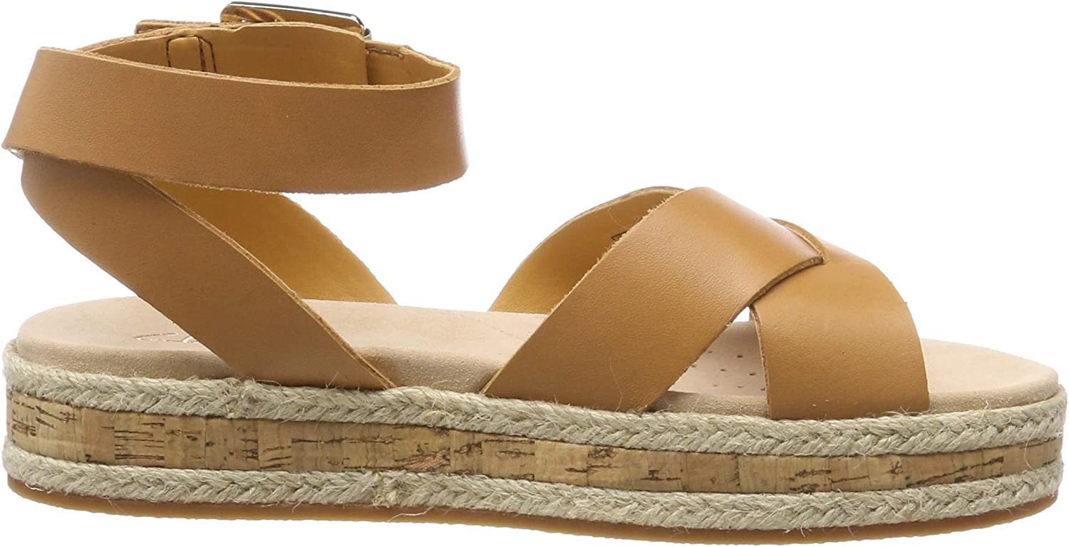 CLARKS Botanic Poppy Womens Sandals with Leather Leather Platform