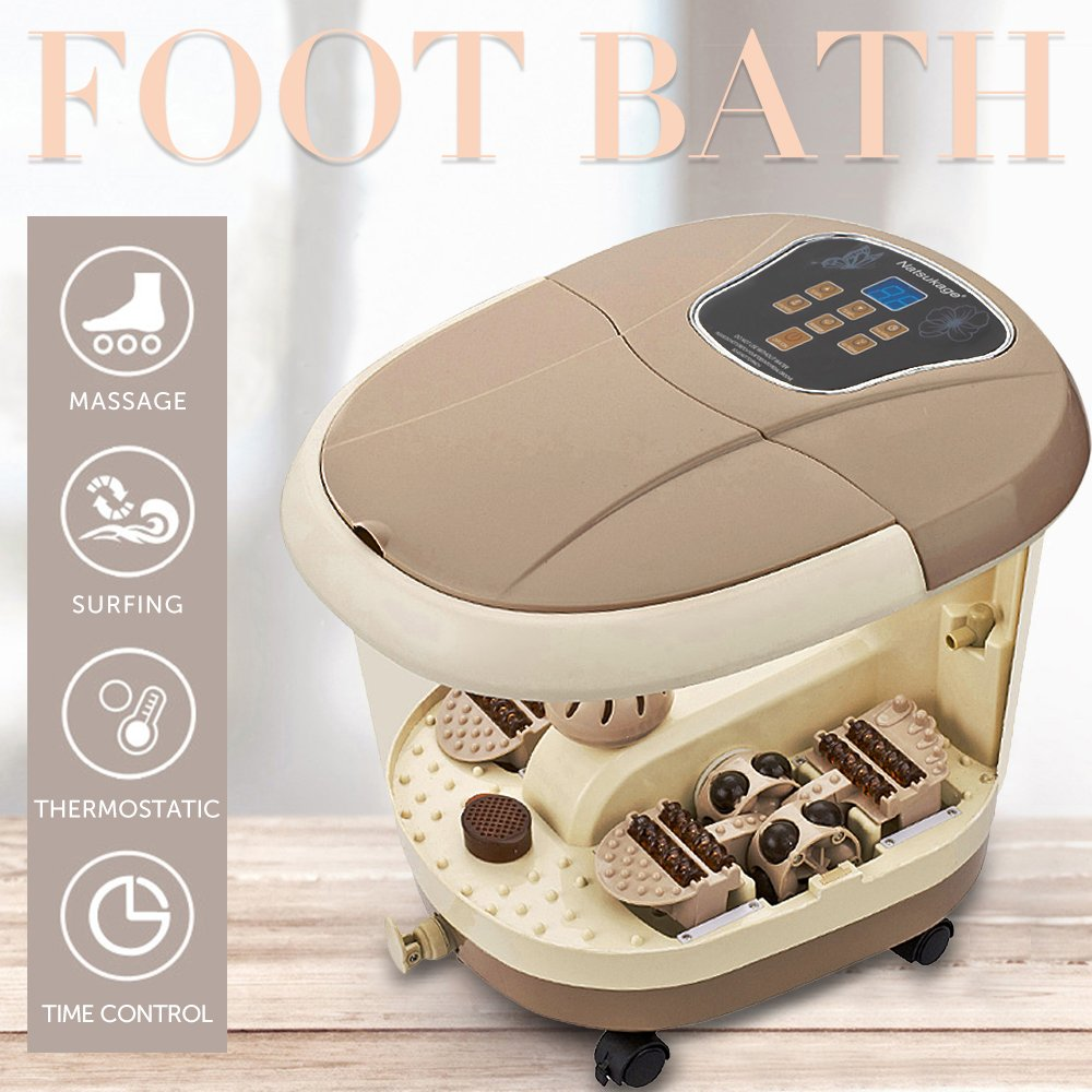 Natsukage All in One Luxurious Foot Spa Bath Massager Motorized Rolling Massage Heat Wave Digital Temperature Control LED Display Fast US Shipping (Type 6)