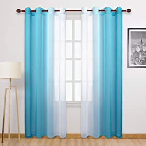DWCN Faux Linen Ombre Sheer Curtains - Gradient Semi Voile Bedroom and Living Room Curtains, Set of 2 Grommet Top Window Curtain Panels, 52 x 84 Inches Long, Sky Blue