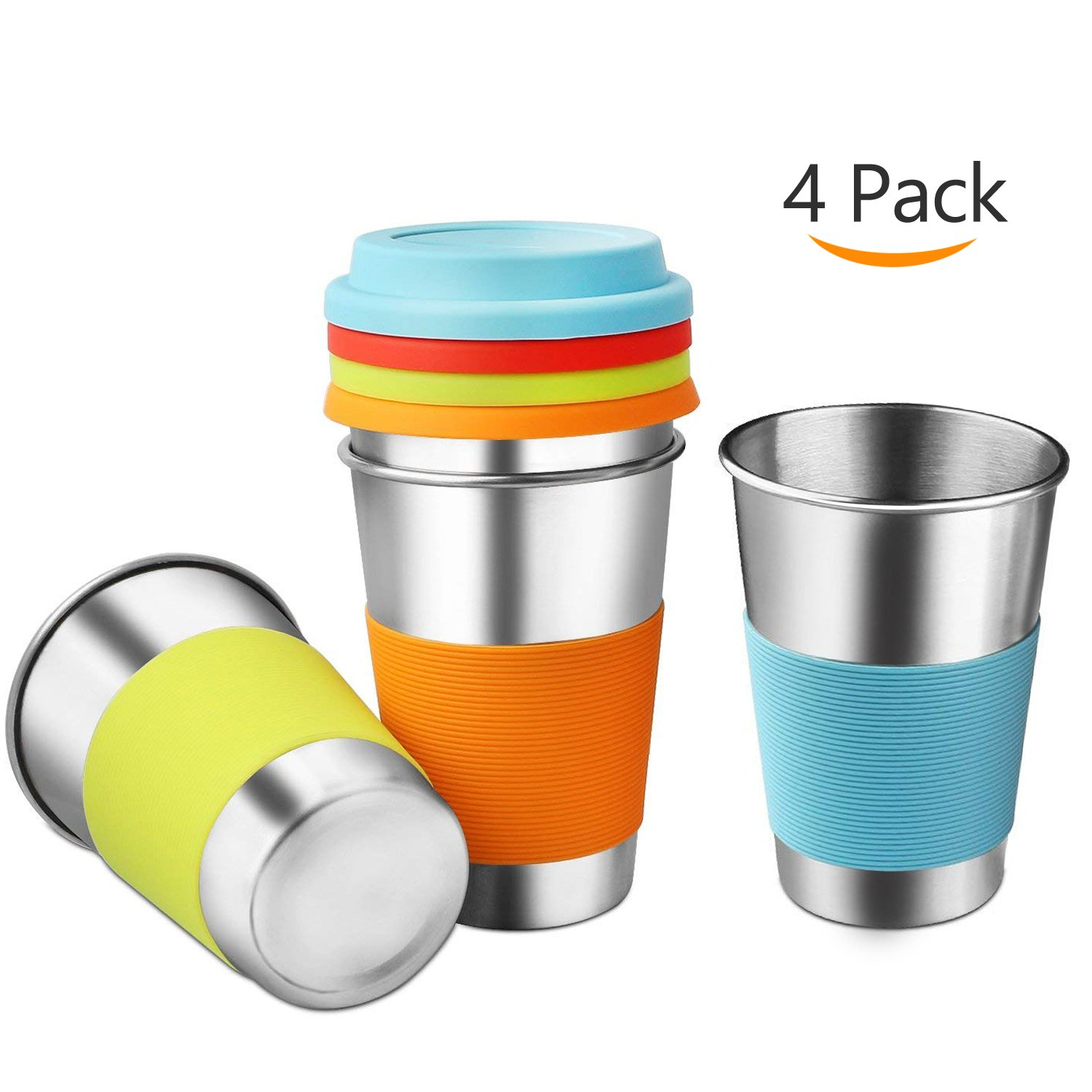 Healthy Stainless Steel Cups with Silicone Sleeves & Lids,Srinea 4 pack 16 oz.18/8 Stackable Drinking Tumblers BPA-Free for Adults,Kids and Toddlers