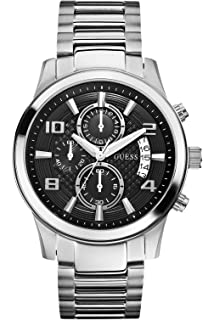 GUESS W0075G1 Mens Chronograph,Stainless Steel Case & Bracelet,Black Dial ...
