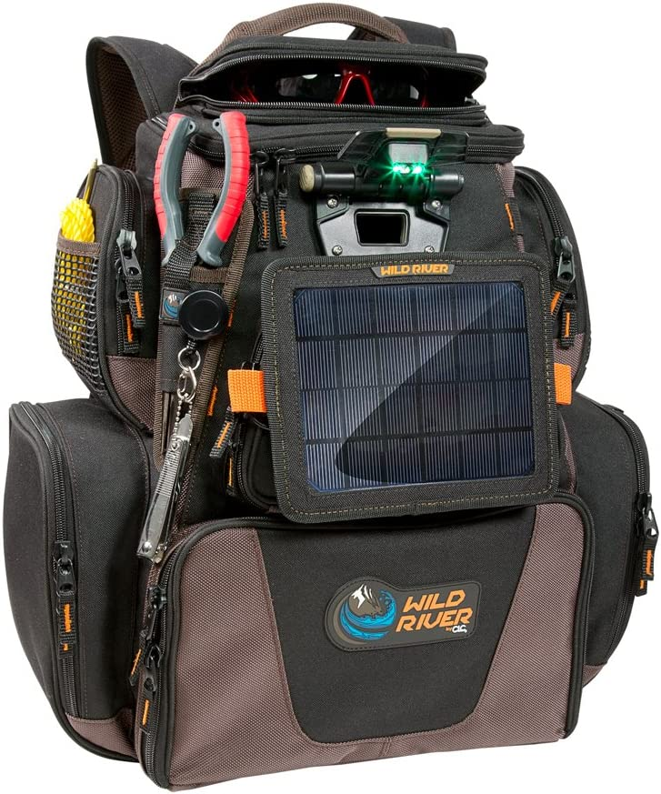 Wild River Tackle Tek Nomad XP Lighted Backpack w USB Charging System, SP01 Solar Kit Trays 52954