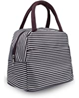 Multi--functional Pratical Lunch Bag Little-Waterproof Tote Bag Lunch Organizer Lunch Holder Lunch Container (Black and White stripes)