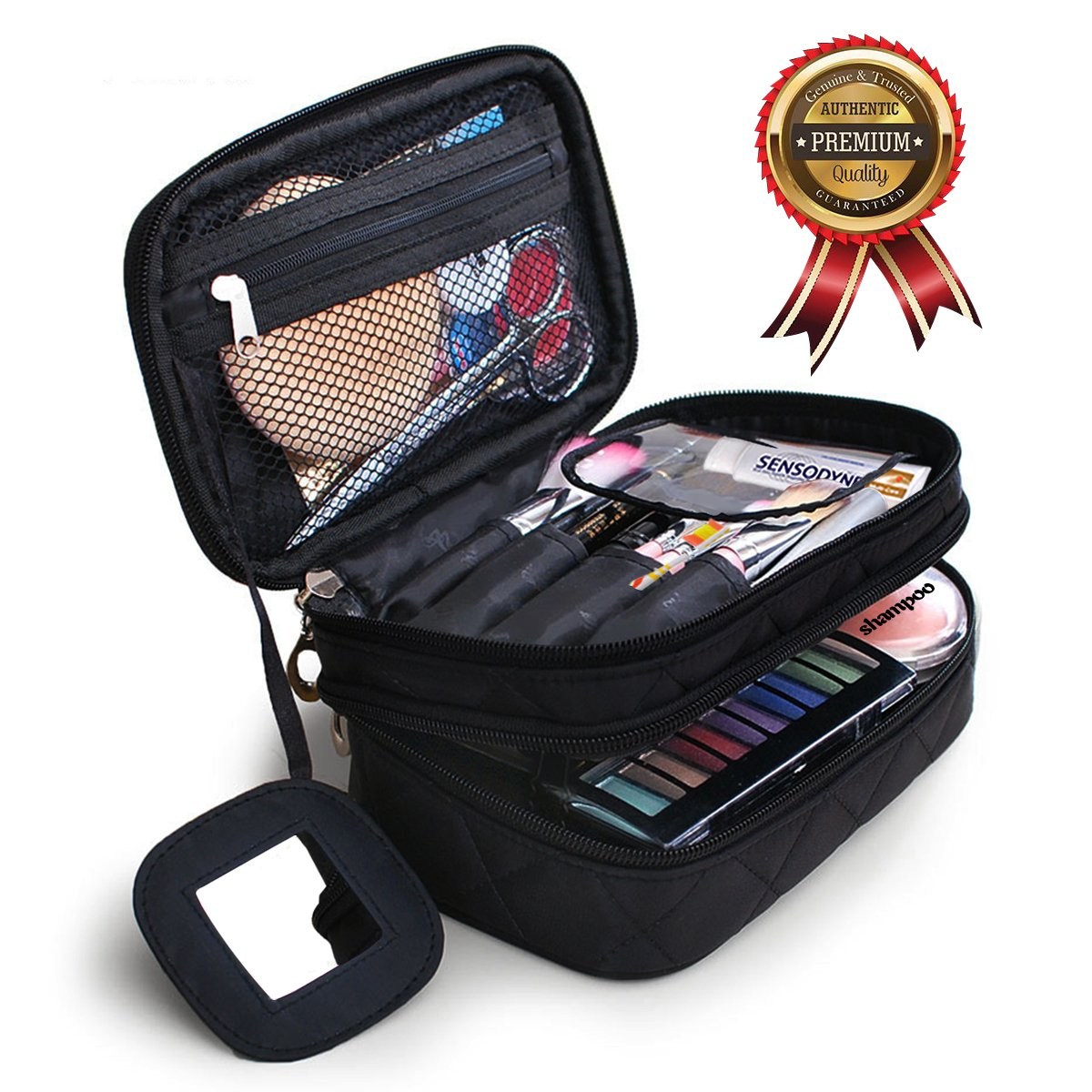 Portable Makeup Bag Double Layer Toiletry Cosmetic Brush Organizer with Mirror for Women Black Multifunctional Travel Bussiness Home (Small, Black)