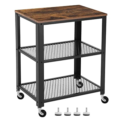 songmics vintage serving cart 3 tier kitchen utility cart on wheels with storage for - Kitchen Cart On Wheels