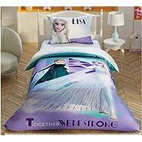 Duvet Cover Set 3 pcs Frozen Twin Size Single 100% Cotton Beding Linens for Kids Children (Frozen 2 Crystal)