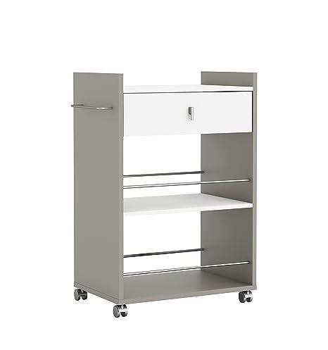 Mueble para microondas con ruedas y dos espacios abiertos protegidos con varillas anticaída y 1 cajón