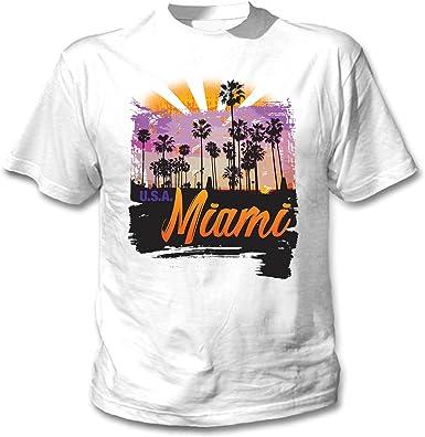 teesquare1st Miami USA Camiseta Blanca para Hombre de Algodon ...