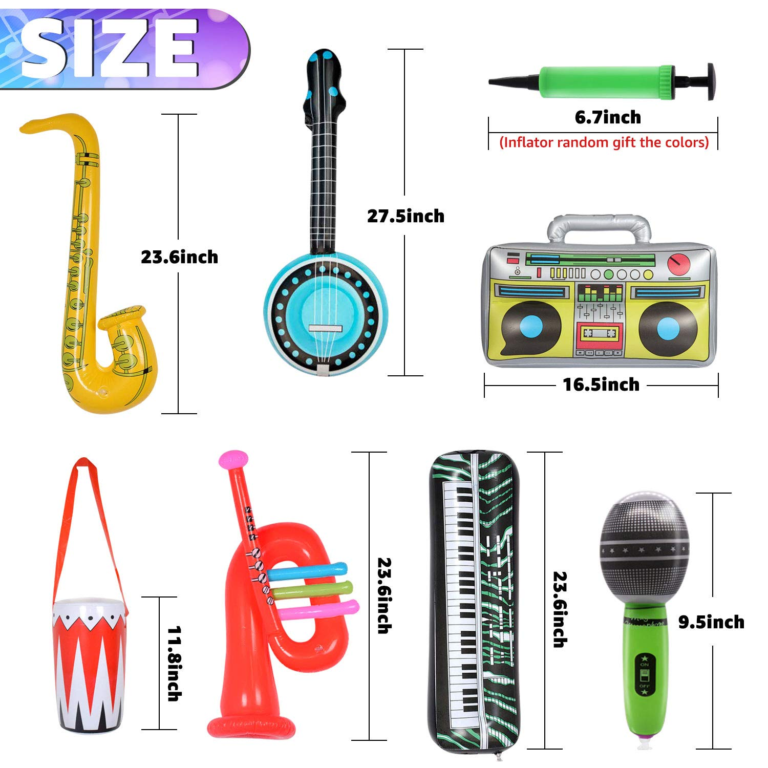 14 Pieces Inflatable Rock Star Toy Set- Inflatable Party Props Drum and keyboard Piano 1 pcs Inflatable Boom Box Radio 2 pcs Inflatable Lute Saxophone and Trumpet 5 pcs Microphones
