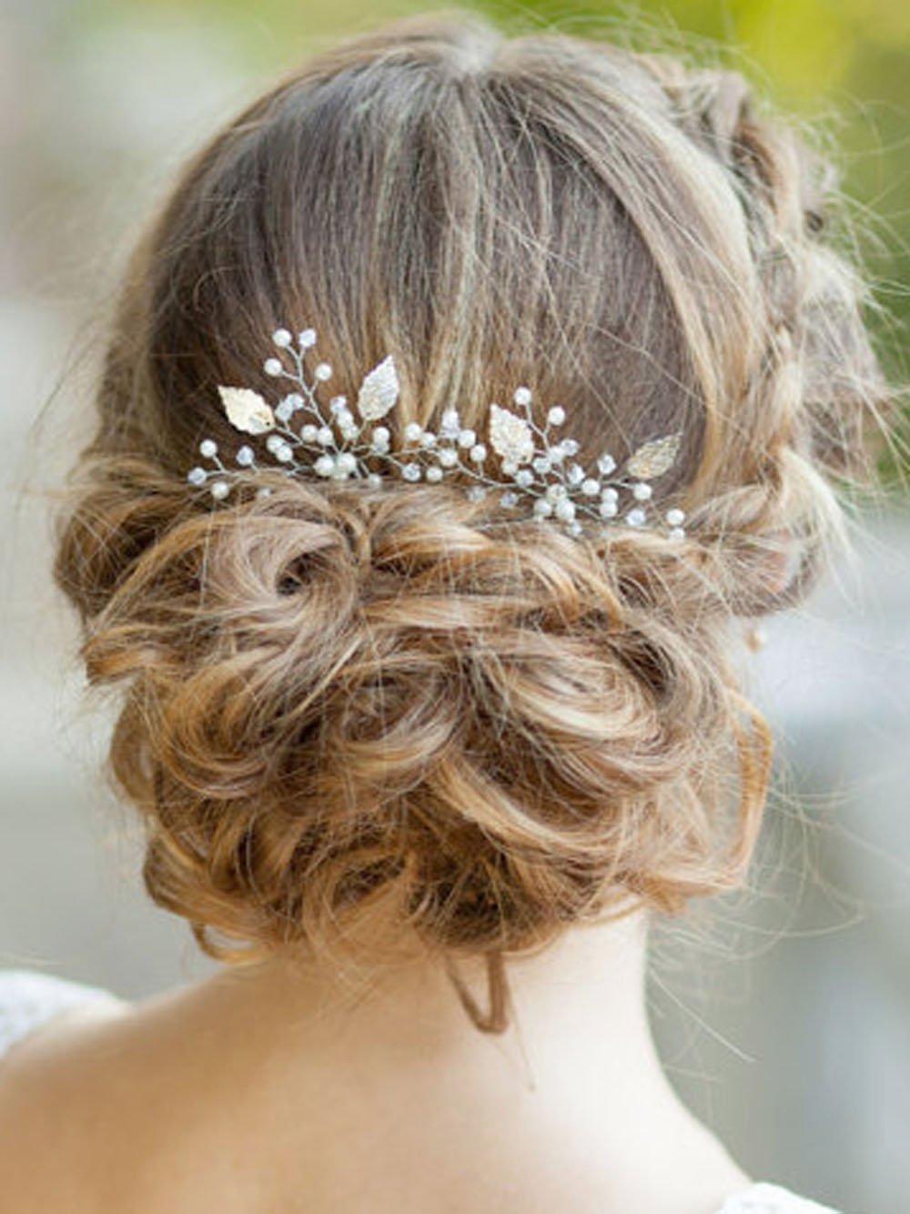 Yean Silver Bridal Hair Pins Set, Wedding Leaf Hair Pin for Women and Girls (Set of 2) (Silver)