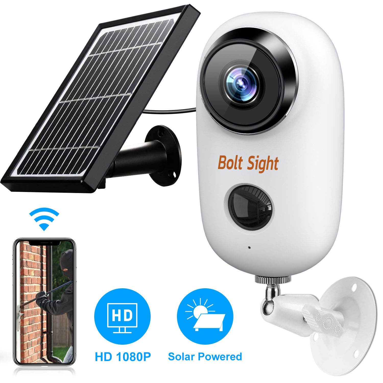 Outdoor Wireless Security Camera - Solar Cameras Battery Powered for Home - HD 1080P Rechargeable Power Operated Outside Camaras,Wirefree House Video Surveillance CCTV System 2-Way Audio,Night Vision by Bolt Sight