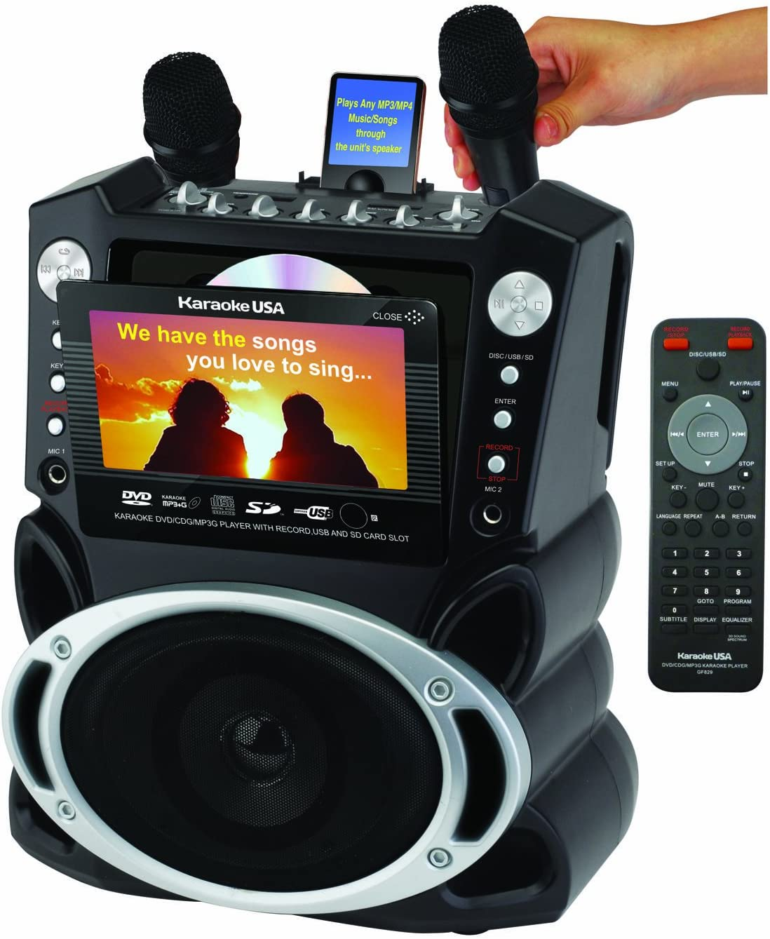 (OLD MODEL) Karaoke USA Karaoke System with 7-Inch TFT Color Screen and Record Function (GF829) 71QXTKewwPLSL1400_
