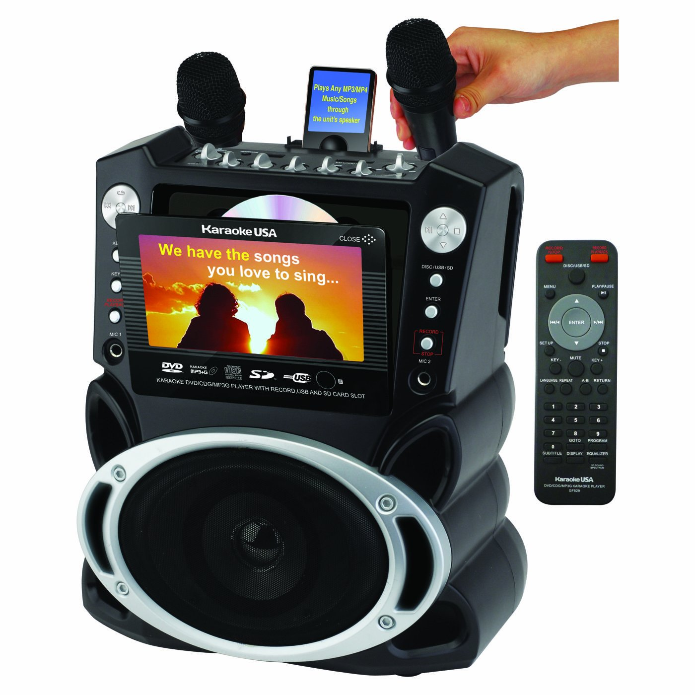 (OLD MODEL) Karaoke USA Karaoke System with 7-Inch TFT Color Screen and Record Function (GF829)
