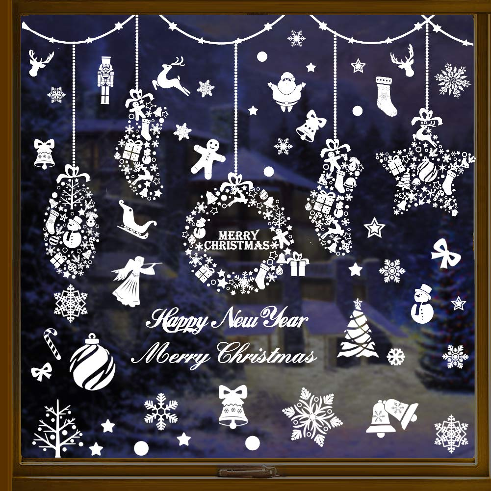JOYET 253 PCS Christmas Snowflake Window Clings Decal Stickers Xmas Winter Wonderland Decorations Ornaments Holiday Party Supplies