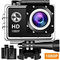 Wuroxa Action Camera 16MP 1080P Underwater Photography Cameras 140 Degree Ultra Wide Angle Lens with 2 Pcs Rechargeable Batteries and Mounting Accessories Kits - Black02