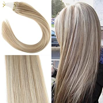 Youngsee 24 Micro Hair Extensions Real Remy Hair Blonde Highlight 1622 Natural Straight Micro Loops Hair Extensions 1gs 50s