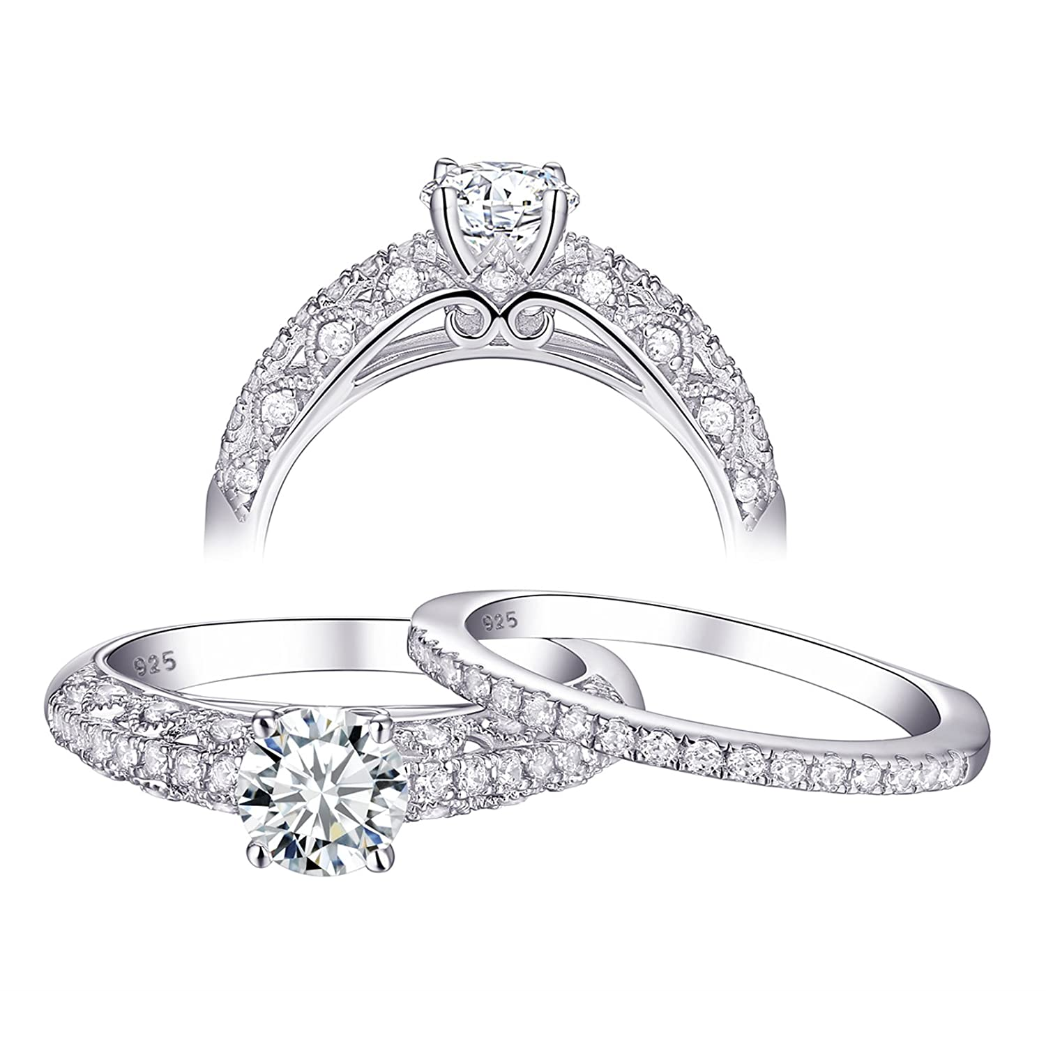 Amazon Newshe Jewellery Cz Wedding Ring Sets Vintage Engagement Rings For Women Sterling Silver 13ct Round Size 5 8 9 Jewelry: Wedding Rings Without Stones At Reisefeber.org