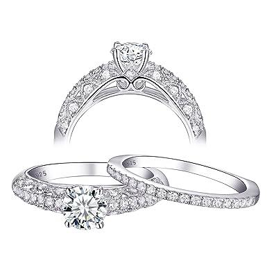 Newshe Unendlichkeit Solitaire Verlobungsringe 925er Sterling Silber