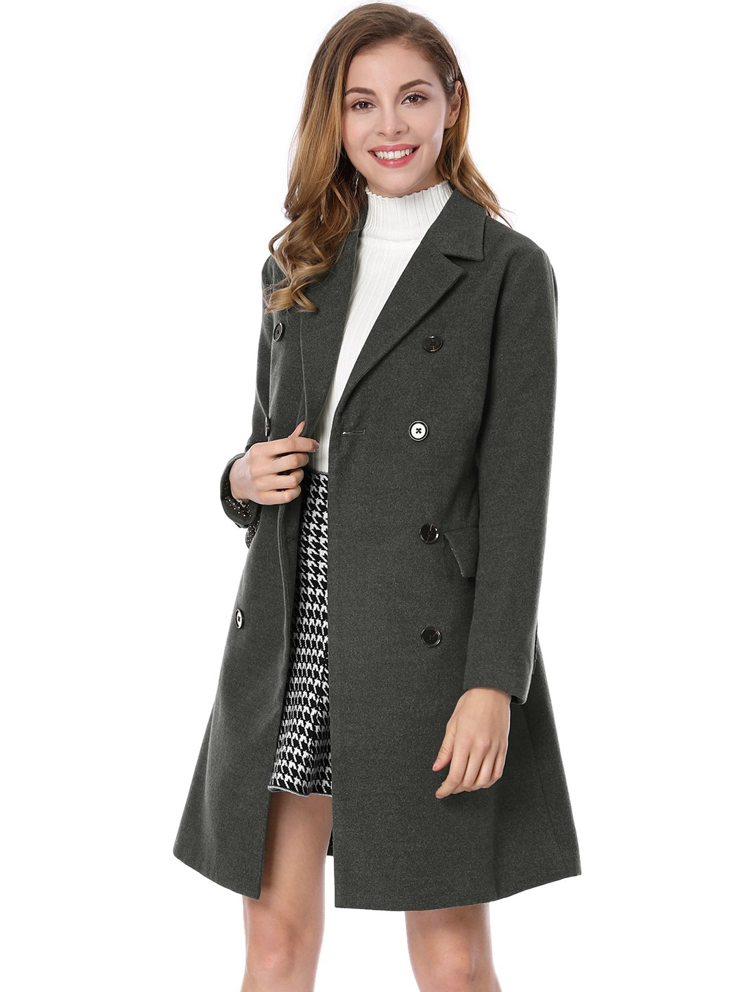 Allegra K Women's Notched Lapel Double Breasted Trench Coat L Grey