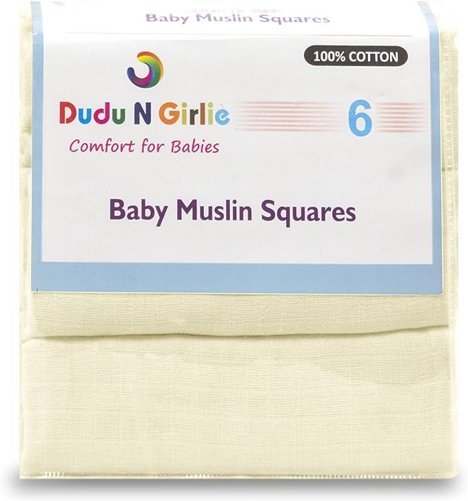 Dudu N Girlie 100/% algod/ón, 72 x 72 cm, 6 unidades color rosa Cuadrados de muselina para beb/é