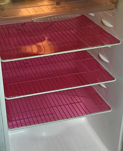 Kuber Industries PVC 6 Piece Refrigerator Drawer Mat Set - Pink