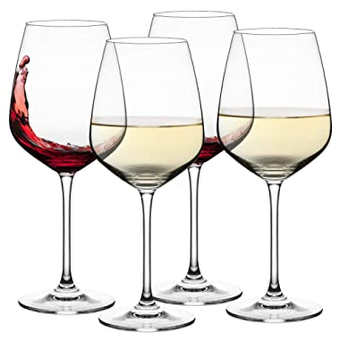 Culinaire 18 Ounce Wine Glasses Set Of 4 Exceptional elegant crystal Ideal For Weddings, Anniversary, Engagement Party Excellent Gift For Wine Enthusiasts Red Or White Wine
