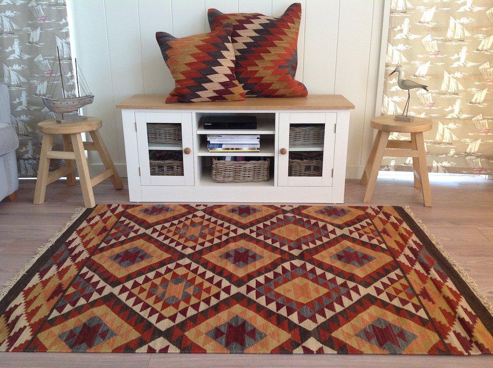 Second Nature Fair Trade Alwar Geometrische Wolle Kelim Teppich – braun rot orange 180 cm x 270 cm