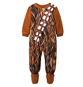 STAR WARS Boys Size 5T CHEWBACCA Wookie Footed Pajama Sleeper