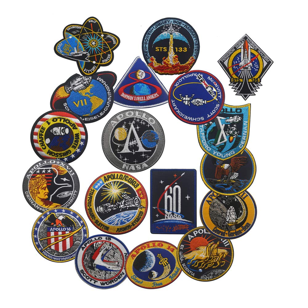 NASA Apollo Mission Patch Set 1,7,8,9,10,11,12,13,14,15,16,17,133,134,135 Space Patches 60th Annivers Embroidered Costume Applique Sew On Motorcycle Emblem for Travel Backpack Hats Jackets (Set of 18) by Zhikang68
