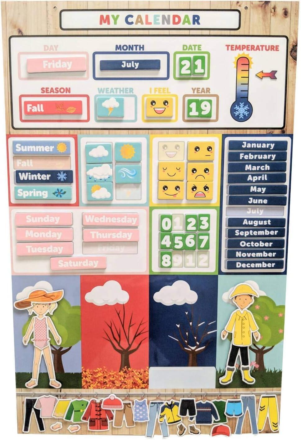 My First Daily Magnetic Learning Calendar For Kids, Educational Calendar for Fridge, Kids Preschool & Play Based Weather Calendar