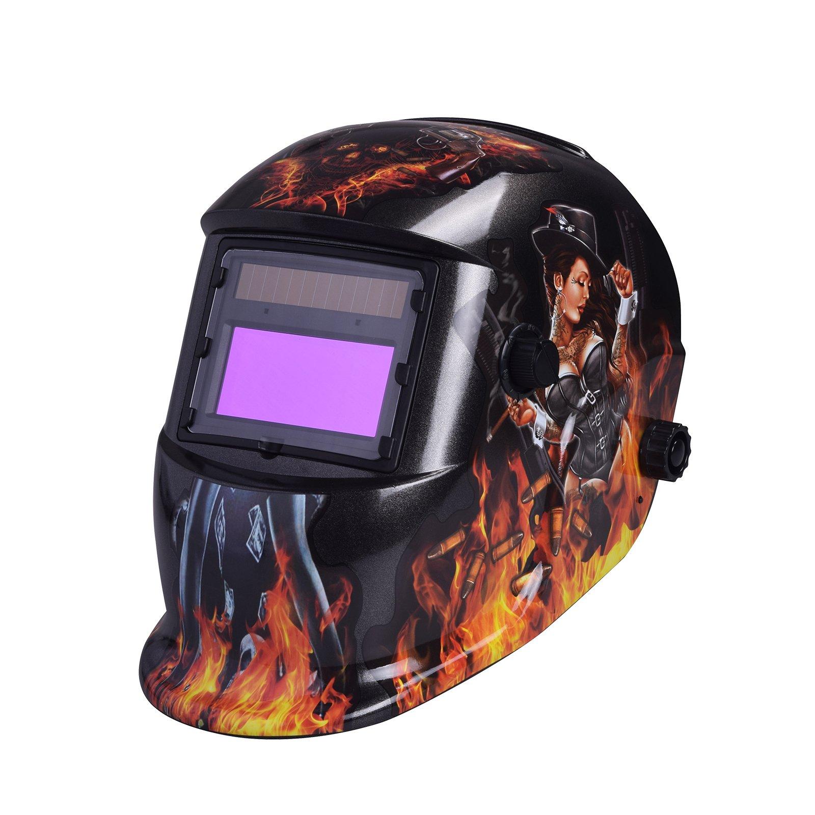 NUZAMAS 자동 차광 용접면 액정 필터 차광속도0.0002초 솔라 충전식 용접 마스크・용접 DIN4 / 9-13 UV / IV보호DIN16