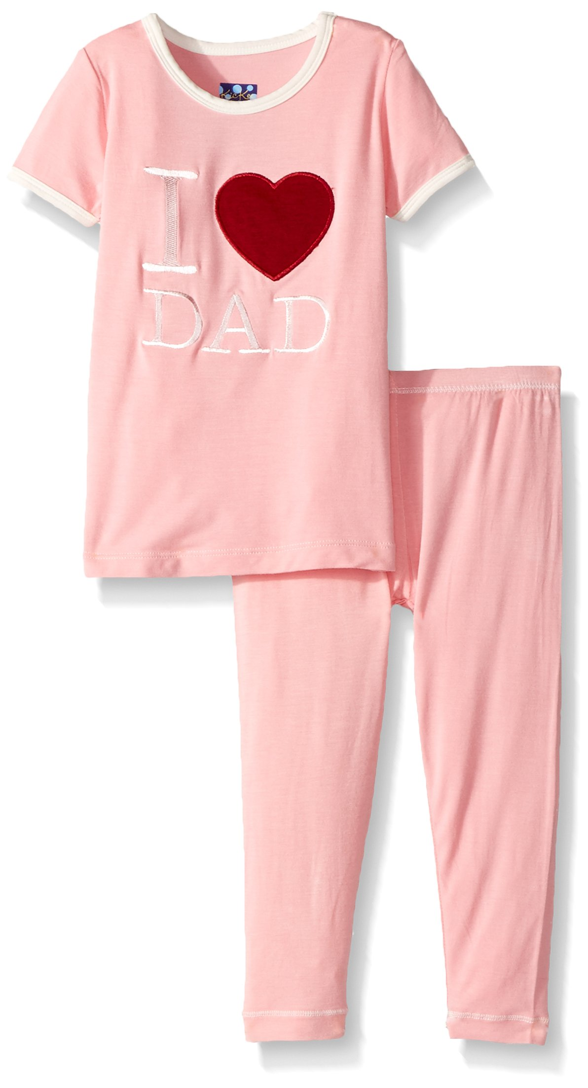 Kickee Pants Toddler Girls' Holiday Short Sleeve Applique Pajama Set, Lotus I Love Dad, 3T