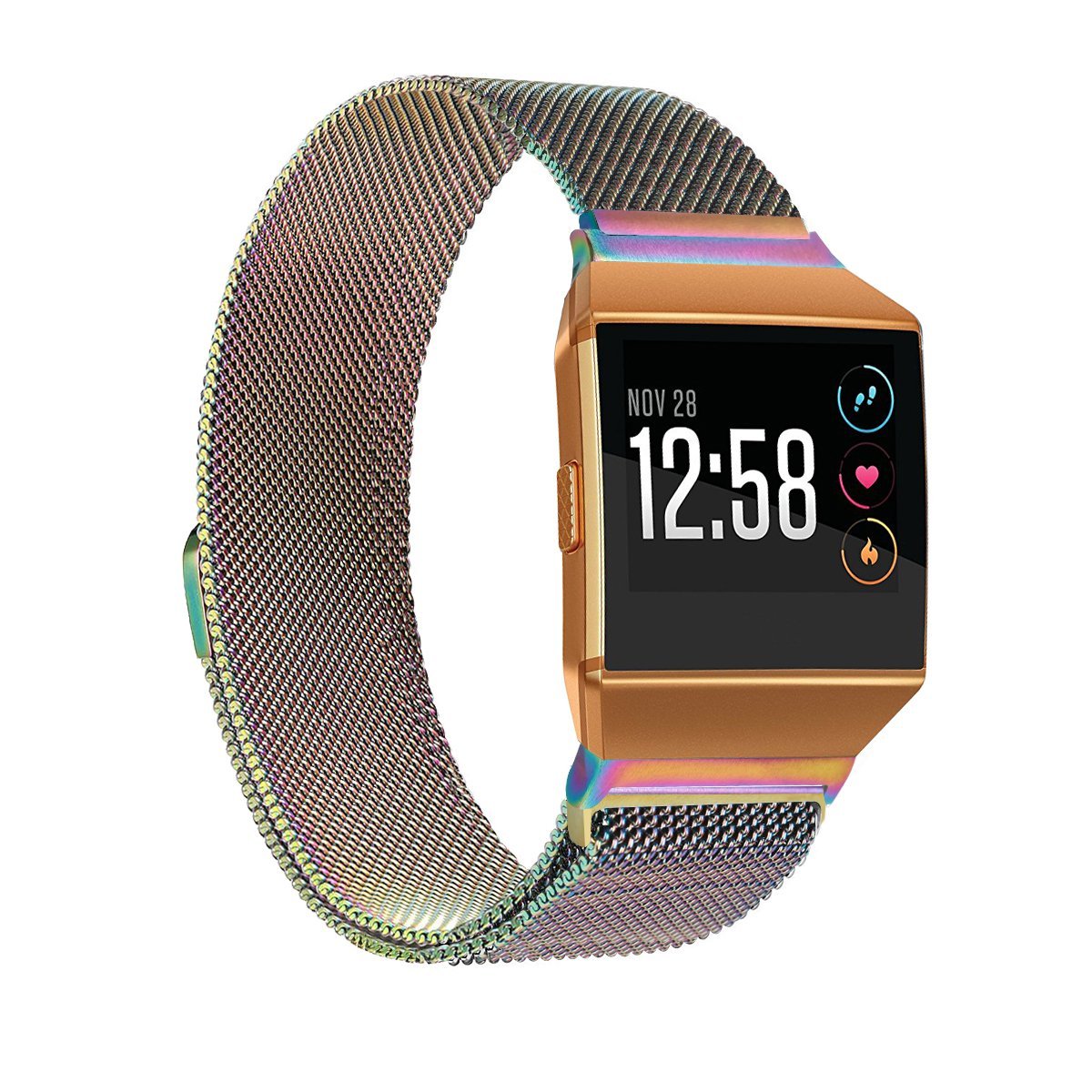 Milanese Magnetic Wrist Band Strap Metal Bracelet for Fitbit Ionic L//S rainbow