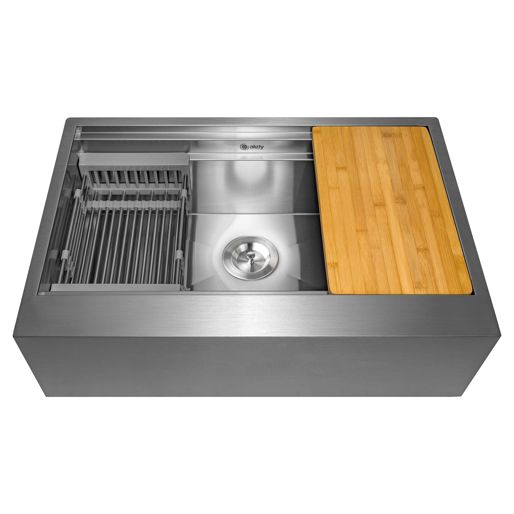 AKDY KS0243 33-Inch (33''x20''x9'') Apron Farmhouse Handmade Stainless Steel Kitchen Sink- Single Bowl Space Saving Kitchen Sink - Kitchen Sink with Drain Strainer Kit Adjustable Tray and Cutting Board