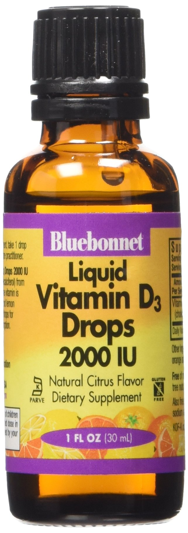 Bluebonnet Liquid Vitamin D3 Drops 2000 IU, Citrus, 1 Ounce