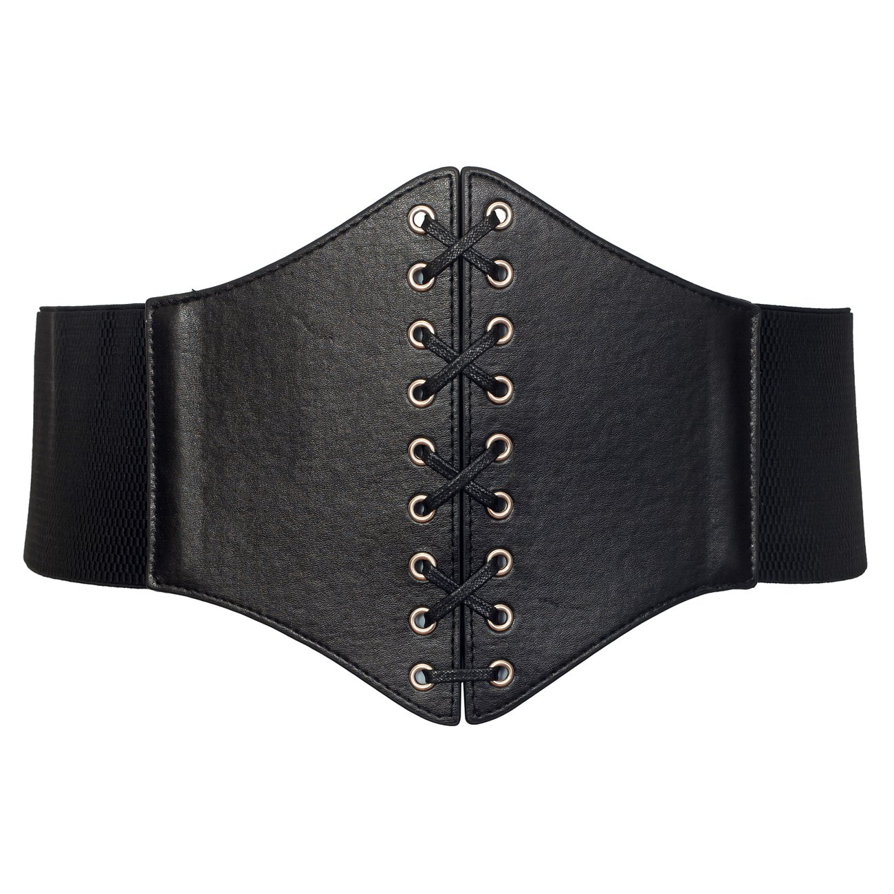 eVogues Plus size Faux Leather Corset Style Wide Elastic Belt Black - One Size Plus
