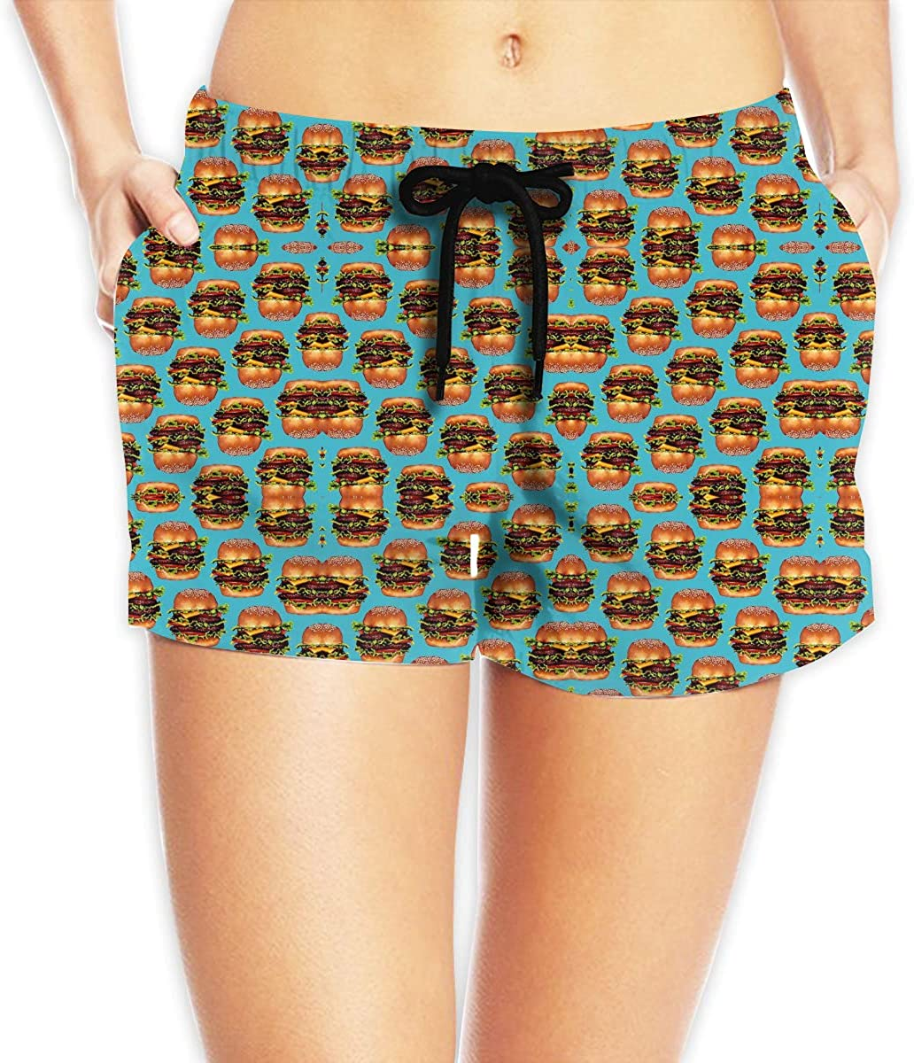 EYFlife Double Cheeseburger Hamburger Women Soft Elastic Shorts Casual Beach Shorts with Drawstring